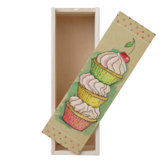 Watercolor cupcakes. Kitchen illustration. Wooden Keepsake Box