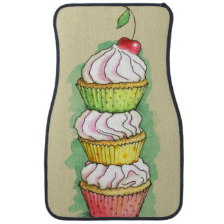 Watercolor cupcakes. Kitchen illustration. Car Mat
