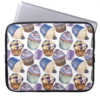 Watercolor cupcakes laptop sleeve