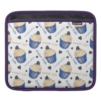 Watercolor cupcakes sleeve for iPads