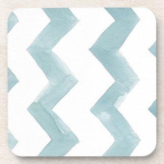 Watercolor Cure Blue Chevrons Drink Coaster