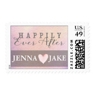 Watercolor Customizable Pink & Gray Heart Postage
