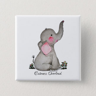 Watercolor Cute Baby Elephant With Blush & Flowers Button