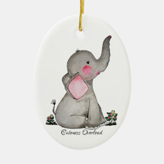 Watercolor Cute Baby Elephant With Blush & Flowers Ceramic Ornament