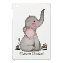 Watercolor Cute Baby Elephant With Blush & Flowers Cover For The iPad Mini