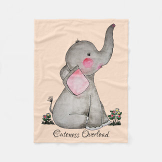 Watercolor Cute Baby Elephant With Blush & Flowers Fleece Blanket