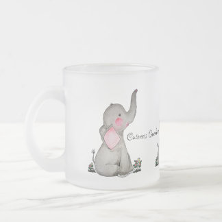 Watercolor Cute Baby Elephant With Blush & flowers Frosted Glass Coffee Mug