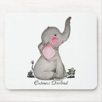 Watercolor Cute Baby Elephant With Blush & Flowers Mouse Pad