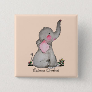 Watercolor Cute Baby Elephant With Blush & Flowers Pinback Button