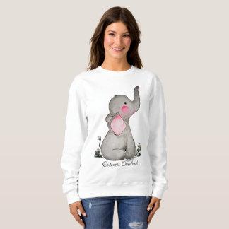Watercolor Cute Baby Elephant With Blush & Flowers Sweatshirt