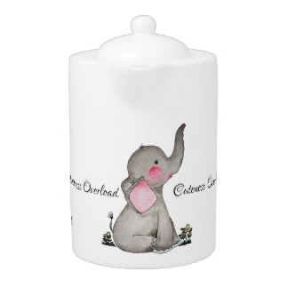 Watercolor Cute Baby Elephant With Blush & Flowers Teapot