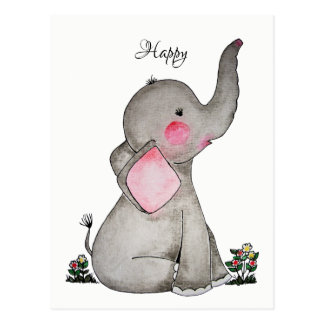 Watercolor Cute Baby Elephant With Tiny Flowers Postcard