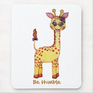 Watercolor Cute Baby Giraffe Mouse Pad