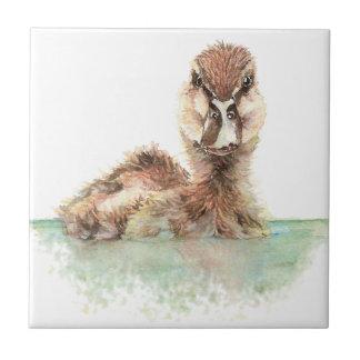 Watercolor Cute Bathing Duckling Bird art Tile
