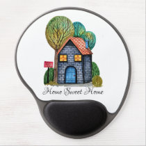 Watercolor Cute Home Sweet Home Art Gel Mouse Pad