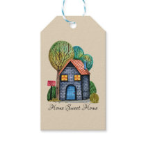 Watercolor Cute Home Sweet Home Art Gift Tags
