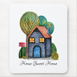 Watercolor Cute Home Sweet Home Art Mouse Pad