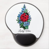 Watercolor Cute Ladybird With Blue Wild Flowers Gel Mouse Pad