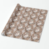 Watercolor Cute Little Owl in Tree Bird Design Wrapping Paper