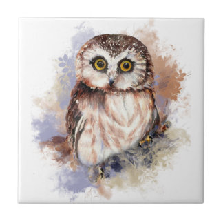 Watercolor Cute Little Saw Whet Owl Bird Ceramic Tile