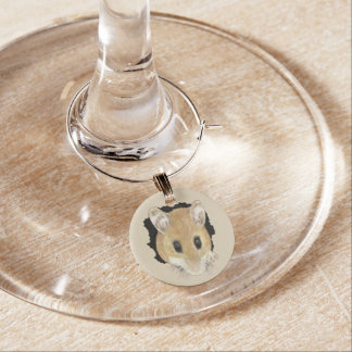 Watercolor Cute Mouse Peeking Out Wine Glass Charm