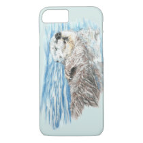 Watercolor Cute Otter Animal Nature art iPhone 8/7 Case