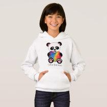 Watercolor Cute Panda With Rainbow Heart Hoodie
