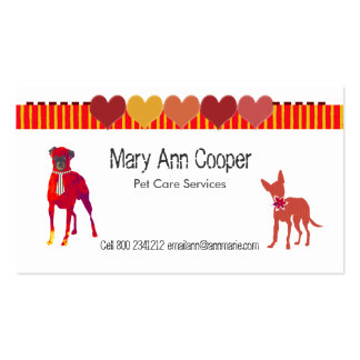 Watercolor Cute Pets Dogs Stripes Hearts Business Card