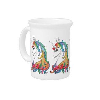 Watercolor cute rainbow unicorn drink pitcher