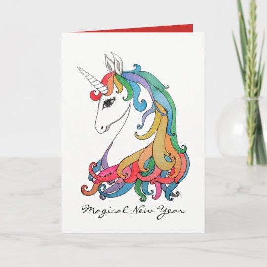 watercolor cute rainbow unicorn holiday card