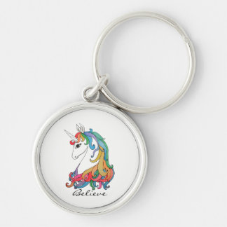 Watercolor cute rainbow unicorn keychain