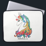 "Watercolor cute rainbow unicorn laptop sleeve<br><div class=""desc"">Watercolor cute rainbow unicorn. Gorgeous design for unicorn lovers. Have little magic into moments with this magical unicorn. Easily customize it with different words or background color if you want.</div>"