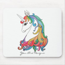 Watercolor cute rainbow unicorn mouse pad