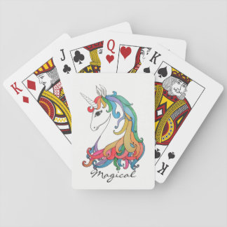 Watercolor cute rainbow unicorn playing cards