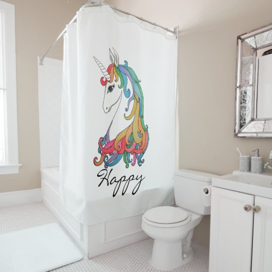 Watercolor Cute Rainbow Unicorn Shower Curtain