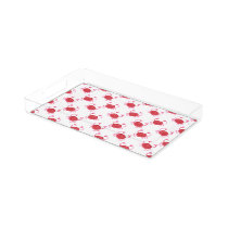 watercolor cute red crabs beach design acrylic tray