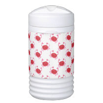 watercolor cute red crabs beach design beverage cooler