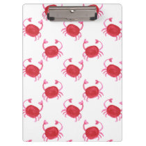 watercolor cute red crabs beach design clipboard