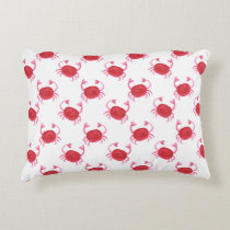 watercolor cute red crabs beach design decorative pillow