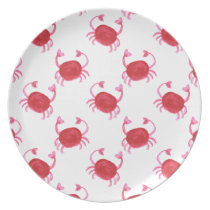 watercolor cute red crabs beach design dinner plate