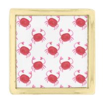 watercolor cute red crabs beach design gold finish lapel pin