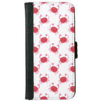 watercolor cute red crabs beach design iPhone 6/6s wallet case