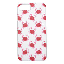 watercolor cute red crabs beach design iPhone 7 case