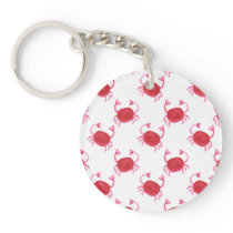 watercolor cute red crabs beach design keychain