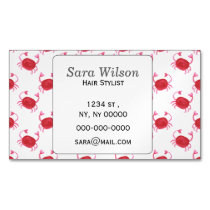 watercolor cute red crabs beach design magnetic business card