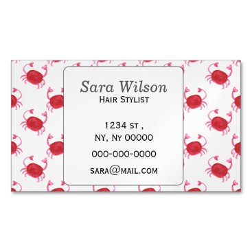 Beach Themed watercolor cute red crabs beach design magnetic business card