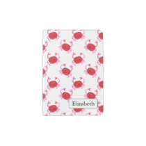 watercolor cute red crabs beach design passport holder