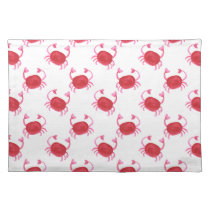 watercolor cute red crabs beach design placemat