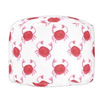 watercolor cute red crabs beach design pouf