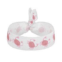 watercolor cute red crabs beach design ribbon hair tie